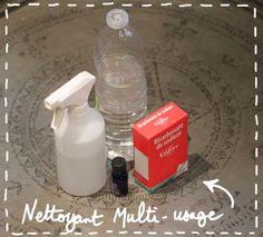 Recette du nettoyant écologique multi-usages : pour un vapo de 500ml, il vous faut 1/3 de vinaigre blanc, 2/3 d'eau, du bicarbonate + de l'huile essentielle