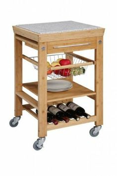 Linon Home Decor 44031BMB-01-KD-U Inlaid Granite Top Work Island by Linon Home Decor. $170.00. Finish:Bamboo   Chrome finished hardware  Two towel hooks  Slide out wire storage basket  One fixed shelf  Four bottle wine storage rack  Spacious pull out storage drawer  Heavy duty locking rubber casters for easy mobility and safety  Back of the cart is fully finished Some assembly required.