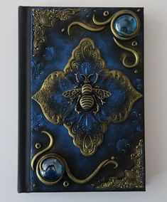 Bee in blue, polymer clay journal, polymer cover, fantasy, 200 blank pages Handmade Journals, Handmade Books, Altered Books, Altered Art, Book Cover Art, Book Art, Polymer Journal, Steampunk Crafts, Magic Book