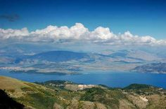 View from Mount Pantokrator, Corfu, Greece.(My sister's house lies some twelve miles north of Corfu town...where the foothillls of Mount Pantokrator provide shelter for the rich little pocket of land which has been part of her husband's family property for a good many years.)