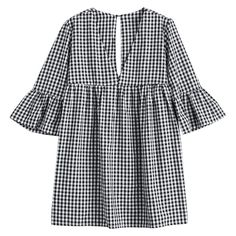 Flare Sleeve Checked Shift Mini Dress (€17) ❤ liked on Polyvore featuring dresses, mini dress, short-sleeve shift dresses, checkered dress, shift dresses and bell sleeve mini dress