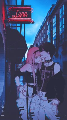Zero Two & Hiro Hintergrund anime live wallpaperYou can find Aesthetic anime and more on our website.Zero Two & Hiro Hintergrund anime live wallpaper Manga Kawaii, Kawaii Anime Girl, Anime Art Girl, Couple Amour Anime, Anime Love Couple, Animes Wallpapers, Cute Wallpapers, Iphone Wallpapers, Art Anime Fille