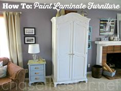 How to Paint Laminate Furniture via Chase the Star A Paint and Primers Need for preschool cabinet makeover. Painting Laminate Furniture, Paint Furniture, Furniture Projects, Furniture Making, Furniture Makeover, Home Projects, Refinished Furniture, My Home Design, Home Interior Design