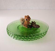 Vintage Green Glass Plates - Fluted Design - 4 Appetizer Salad Dessert Plates