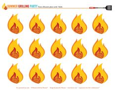 FREE Printables: flames fire Prepare cut out flames. Can use these for Pentecost lesson. Invite the children to write on a flame something they are afraid of or worried about. Ask God to give them the courage to overcome these anxieties. Bbq Party, Grill Party, Fireman Party, Firefighter Birthday, Fireman Sam, 4th Birthday Parties, Boy Birthday, Party Printables, Free Printables