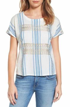 Lucky Brand Metallic Embroidered Top