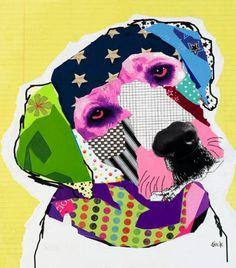 MODERN DOG ART   Modern Dog Art Original Collages & Prints