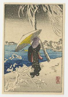 Takahashi Shotei Japanese Woodblock Print - Woman in - Mar 2019 Japanese Prints, Japanese Art, Parasols, Umbrellas, Tokyo, European Paintings, Wood Engraving, Woodblock Print, Vintage Japanese