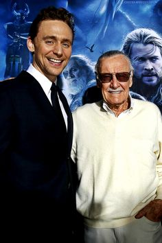 Tom and Stan Lee...cute boys :D --- STAN FREAKING LEE!!!!!!!!!!!!!!!!!!!!! OH MY GOD!!!!!!!!!!!!!!!!!!!!!!!!!!!!!!! oh hi Loki.... haha