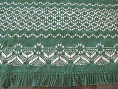 Swedish Weaving Angel Table Runner on Green by rdrunnercreations