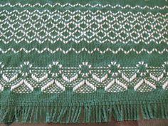 Swedish Weaving Angel Table Runner on Green by rdrunnercreations