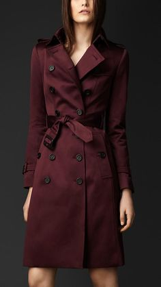 451250355fb6 Cotton Sateen Trench Coat in Burgandy