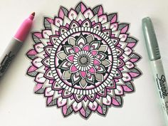 Love me some pink Just a little pink, black and silver mandala ☺️