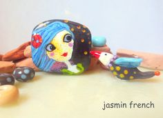 jasmin french ' scooter girl ' lampwork focal beads glass art jewelry kit set