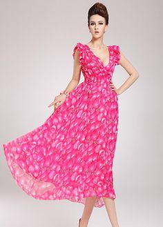 Princess Style Petal Sleeve V Neck High Waist Rose Printed Chiffon Dress