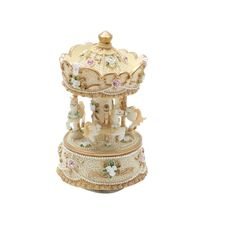 Amazon.com: 3-horse Carousel Music Box Melody Carrying You from Castle in the Sky(Laputa)-MP336(Yellow): Home & Kitchen