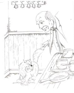 This is an illustration of Mr James and Chesterpuss in the kitchen. The illustration is from my book 'The Enchanted Beach Hut'