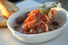 *Cajun Cream Gulf Shrimp  Our version, made with New Orleans Tasso cured ham and toast points