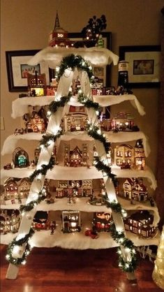Use an Old Ladder & a few Boards to make a Christmas Village.these are the BEST Homemade Christmas Deco Use an Old Ladder & a few Boards to make a Christmas Village.these are the BEST Homemade Christmas Decorating & Craft ideas! Noel Christmas, Christmas Projects, Winter Christmas, All Things Christmas, Christmas Ornaments, Ladder Christmas Tree, Simple Christmas, Christmas Music, All About Christmas