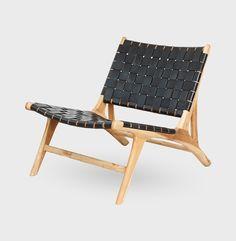 P009 Lænestol i Teak - Sort læder - BY SOL | Nova Møbler By, Barcelona Chair, Outdoor Furniture, Outdoor Decor, Sun Lounger, Teak, Nova, Home Decor, Hammock Chair