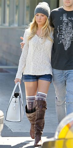 Ashley Tisdale wore the Splendid Denali Slub Long Sleeve Lace Up Sweater as she keeps close to boyfriend musician Christopher French as they head out to lunch on Wednesday afternoon (February 27) in Studio City, Calif.     #CelebrityStyleGuide