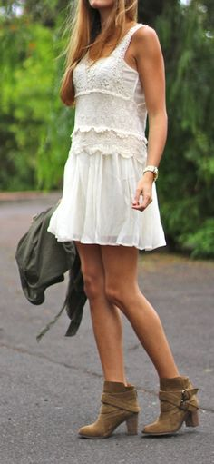 Lace dress + boots