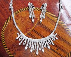 Exquisite Otis Sterling Art Deco Necklace and Earrings Demi Parure - Signed - by Gementia13Jewels