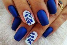 Unhas ♡♡ Blue Nail Art Ideas for 2018 - Top 150 Designs Blue Nail Designs, Nail Designs Spring, Blue Nails With Design, Spring Nail Art, Spring Nails, Summer Nails, Coffin Nails Matte, Nail Art Diy, Nail Art Blue