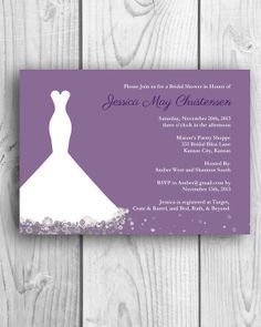 Printable Wedding Shower Invitation / Wedding Dress / Flowers / Silhouette / Choose your Color on Etsy, $13.00