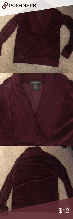 Gently worn Banana Republic velvet sweatshirt Maroon velvet sweatshirt size small Banana Republic Tops