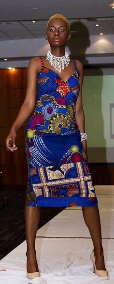 Fitted African print circle pattern Ankara dress. Cameron African print fitted…