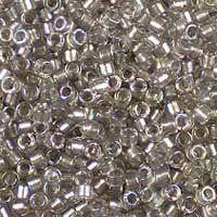 Miyuki 11/0 (1.6mm) Delica Sparkle Pewter-Lined Crystal AB glass cylinder beads, colour number DB 1772. UK seller.