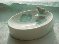 Vintage Porcelain Soap Dish Blue Poppy and Butterfly made in Japan Oval #Unbranded Seller florasgarden on ebay