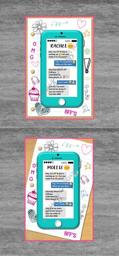 https://www.etsy.com/listing/286086737/tween-teen-cell-phone-birthday Tween Invite Teen Invite Cell Phone Invite Emoji Invite Girl Birthday Cellphone Invite Invitation Doodle Paper Notebook Etsy