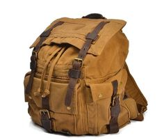 Big Leisure men's and women's Leather Canvas Backpack Leather Shoulder Bag IPAD Bag Laptop Backpack ********************************************** We use selected thick cotton waxed canvas, quality ha