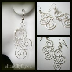 Swirls Argentium Silver Dangle Earrings by ChantillyLily on Etsy, $29.00