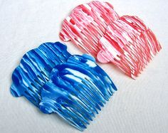 Vintage hair combs 4 stripy celluloid hair accessories mid century blue pink decorative hair comb hair jewelry (XXN)