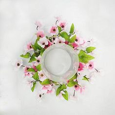 Stellar Performance Pink Dogwood Spring Candle Ring Centerpiece Table Top Decoration for Spring Summer Everyday Decorating Decorate for Easter Small Wreath 14 Inch Centerpiece Table, Easter Table Decorations, Centerpieces, Pink Dogwood, Spring Door Wreaths, Mini Candles, Candle Rings, Berry Wreath, Floral Wreath