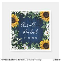 Navy Blue Sunflower Rustic Country Wedding Napkins Daisy Wedding, Fall Wedding, Wedding Flowers, Dream Wedding, Wedding Ideas, Wedding Decorations, Wedding Inspiration, Wedding Simple, Yellow Wedding