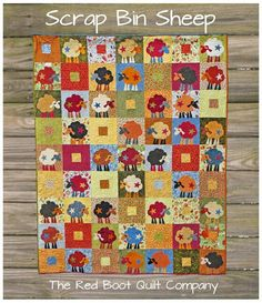 scrap bin sheep quilt from the red boot quilt company site
