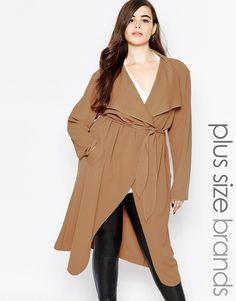 Boohoo+Plus+Shawl+Collar+Coat