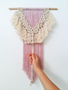 This beautiful wall hanging is handmade by me in macrame technique. Its a stylish and incredibly beautiful decoration for a modern interior. And its perfect piece for ethno and boho style fans, or for people who just want to decorate their home in an original way. The hanging is made