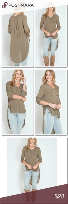 """LONG ROLL-UP SLEEVE HIGH-LOW BUTTON DOWN TUNIC LONG ROLL-UP SLEEVE HIGH-LOW BUTTON DOWN TUNIC TOP  S:65%COTTON 35%POLYESTER WOVEN TOP - Model is 5'11"""" Tops Blouses"""