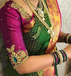 No photo description available. Wedding Saree Blouse Designs, Pattu Saree Blouse Designs, Designer Blouse Patterns, Saree Blouse Neck Designs, Saree Wedding, Wedding Bride, Hand Work Blouse Design, Simple Blouse Designs, La Bayadere