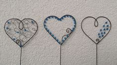 Zápich srdce modré Copper Wire Art, Suncatchers, Metal Jewelry, Handmade, Crafts, Wire Ornaments, Hearts, Hand Made, Manualidades