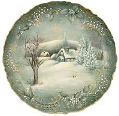 Holy Night Porcelain Plate -- Paint this quiet winter scene on a porcelain plate. #decoartprojects