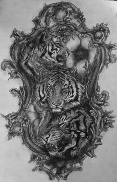 3 sweet tigers in my mirror