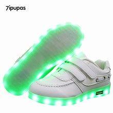 sports shoes db785 44414 US  14.37  7 ipupas Neue kinder luminous schuhe USB lade schuhe Jungen und  mädchen leinwand muster led schuhe 7 farben outdoor glowing turnschuhe in 7  ...