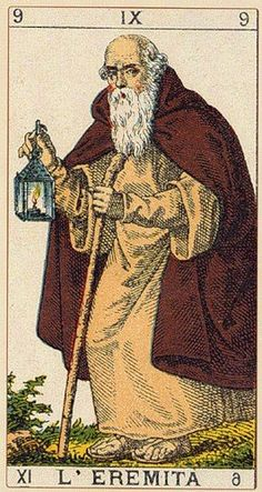The Hermit - Ancient Italian Tarot. This card symbolizes one of the stages of the Fool's Journey towards self-discovery. The Fool stands for all of us. The Hermit Tarot, Vintage Tarot Cards, Tarot Prediction, Love Tarot, Tarot Card Decks, World Religions, Major Arcana, Oracle Cards, Freundlich