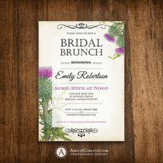 Bridal BRUNCH Invitation Printable, Bridal SHOWER Invite, Bridal TEA Party Instant Download Rustic Purple Thistle Shower the Bride Editable